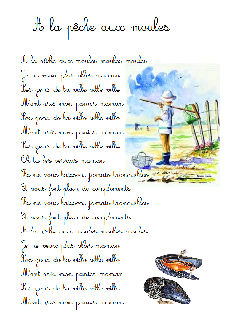 chanson À la pêche aux moules - paroles illustrées À la pêche aux moules