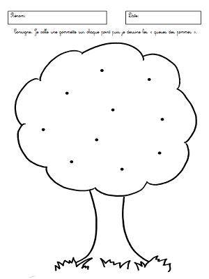 Mettre une gomette sur chaque point et dessiner la queue des pommes