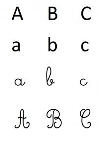 alphabet dans les 4 écritures