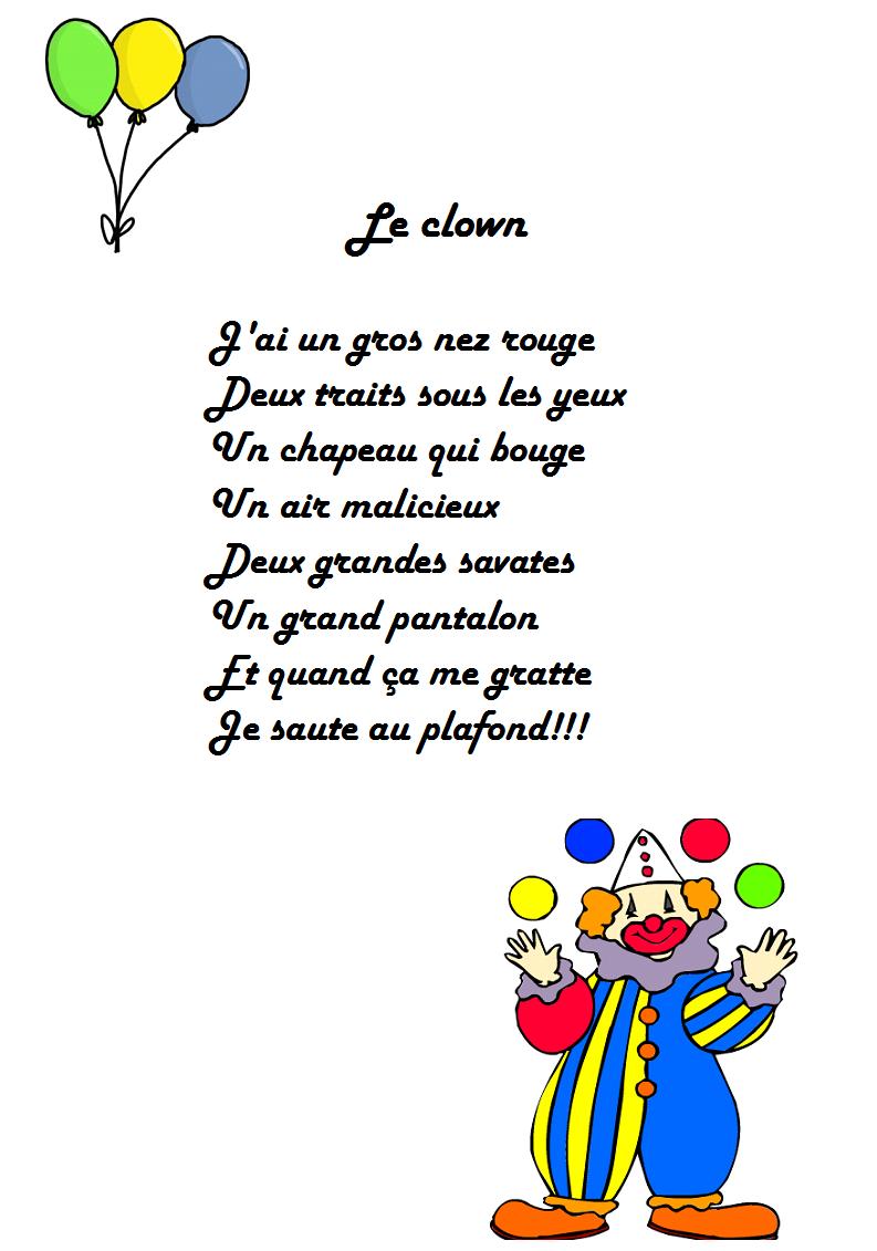 comptine le clown, le clown J'ai un gros nez rouge