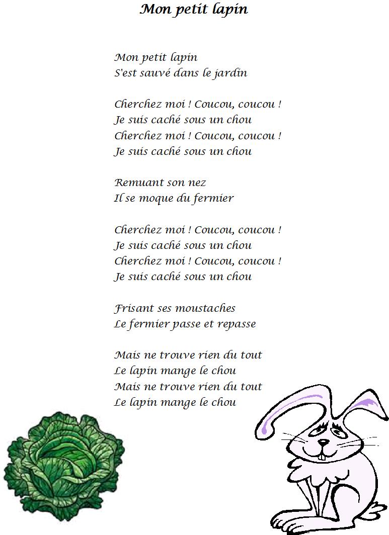 Comptine Mon Petit Lapin Paroles Illustrées De La Comptine Mon