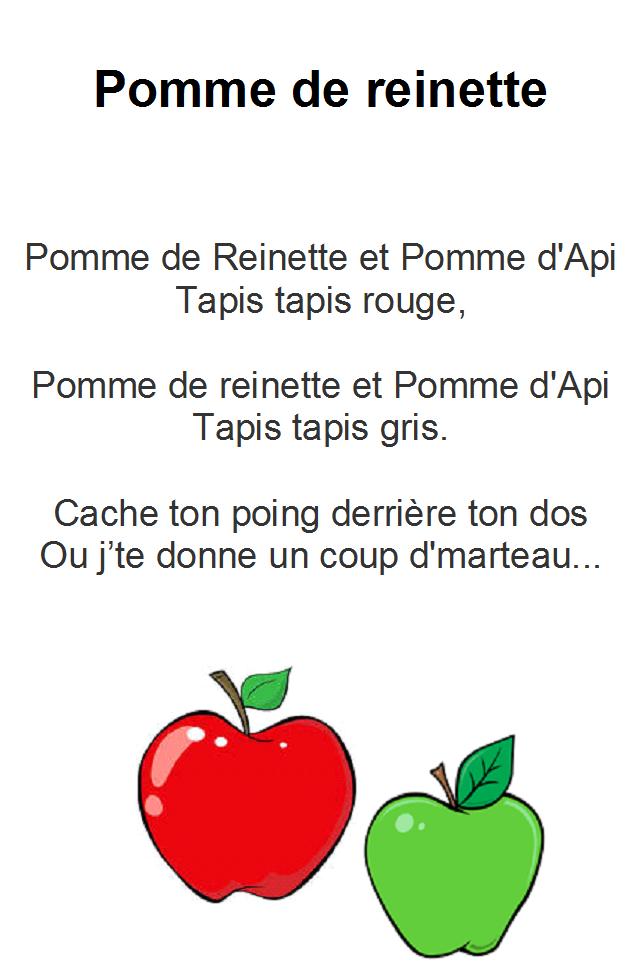 Comptine pomme de reinette et pomme d'api