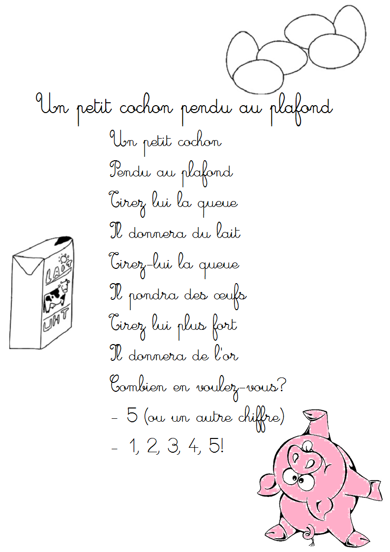 Comptine un petit cochon pendu au plafond paroles - Un petit cochon pendu au plafond ...