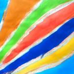 Lignes obliques au pastel encre mélangée à du medium irisé