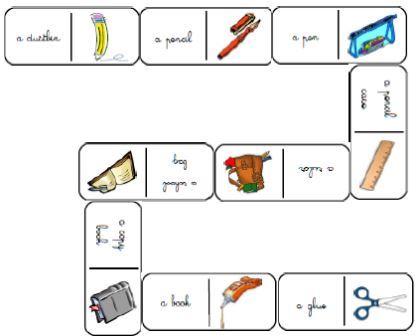 Dominos matériel de classe anglais