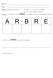 image reconstituer et écrire le mot arbre