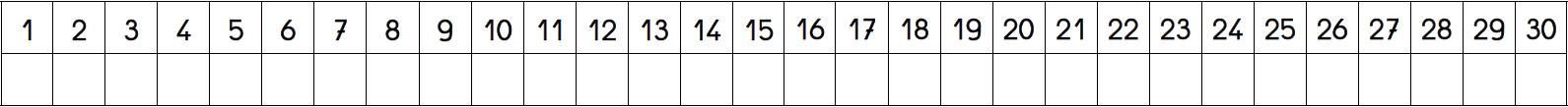 Bande numérique 1 à 30 en 2 parties + cases blanches