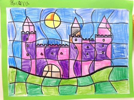 Château crayon de couleur