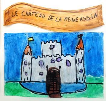 Château encre et peinture + médium irisé