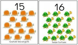 image affiche nombres 1 à 20 animaux