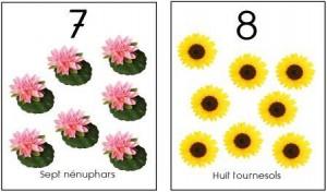 image affiche nombres 1 à 10 fleurs