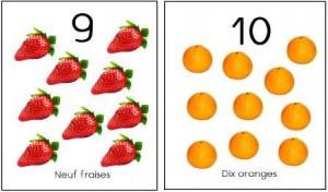 image affiche nombres 1 à 10 fruits