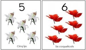 image affiche nombres 1 à10 fleurs
