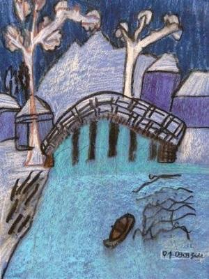 Hiroshige Neige sur le pont de Taiko production d'élève
