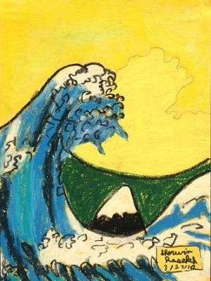Katsushika Hokusai La grande vague de Kanagawa production d'élève