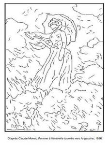 Coloriage Claude Monet Femme à l'ombrelle tournée vers la gauche