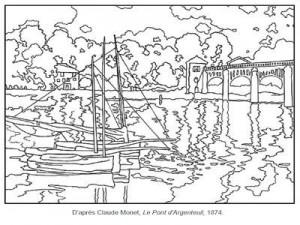 Coloriage Claude Monet Le pont d'Argenteuil