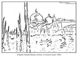 Coloriage Claude Monet Venise le Grand Canal