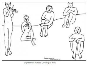 Coloriage Henri Matisse La musique 1910
