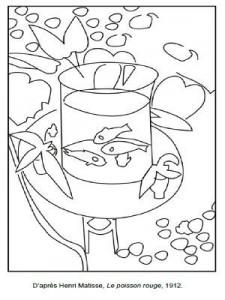 Coloriage Henri Matisse Le poisson rouge