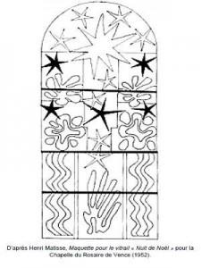 Coloriage Henri Matisse Maquette pour le vitrail Nuit de Noël
