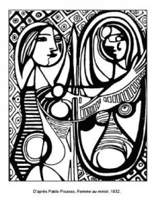 Coloriage Pablo Picasso Femme au miroir