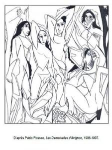 Coloriage Pablo Picasso Les Demoiselles d'Avignon