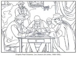 Coloriage Paul Cézanne Les joueurs de cartes 1890-1892