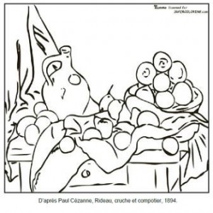 Coloriage Paul Cézanne Rideau, cruche et compotier