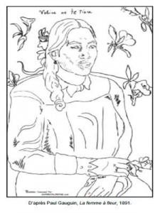 Coloriage Paul Gauguin La femme à la fleur