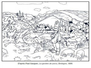 Coloriage Paul Gauguin Le gardien de porcs
