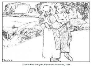 Coloriage Paul Gauguin Paysannes bretonnes