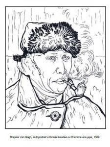 coloriage Autoportrait à l'oreille bandée