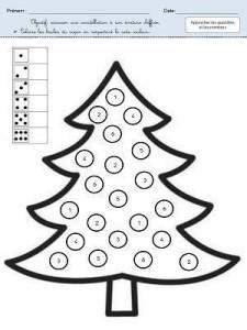 Colorie les boules du sapin en respectant le code couleur Activités Noël maternelle