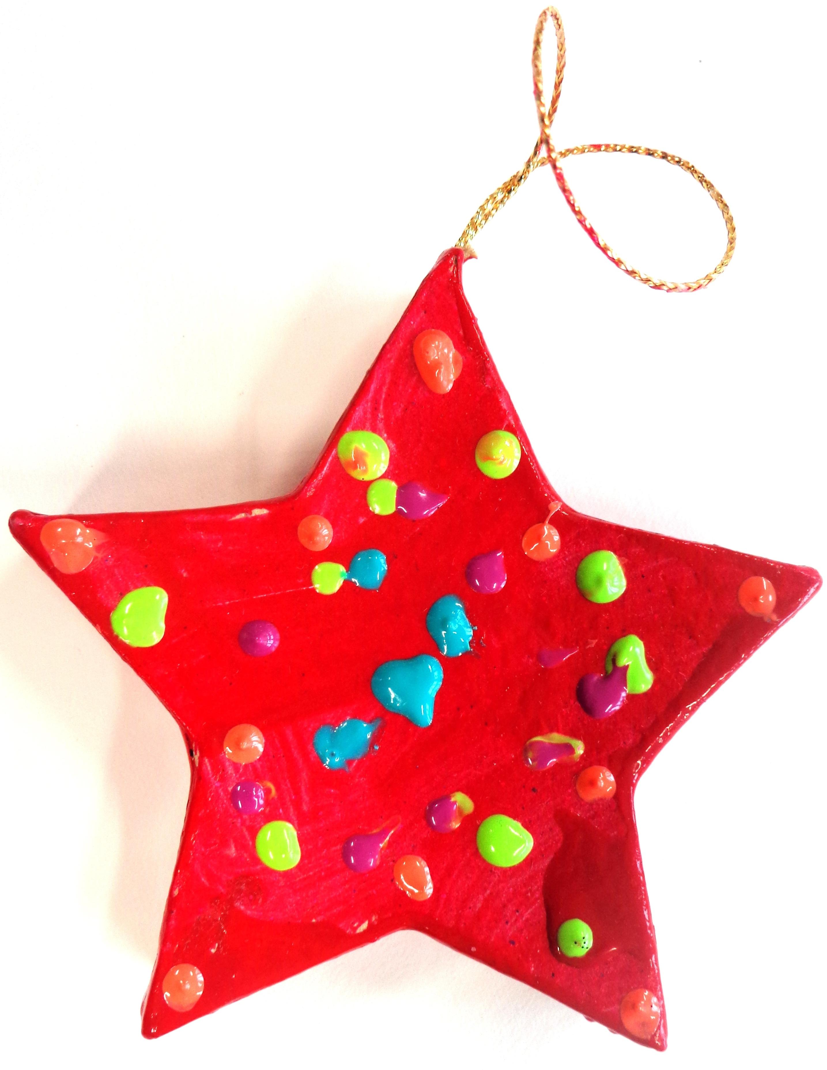 Etoile décorée idée de cadeau de Noël en maternelle