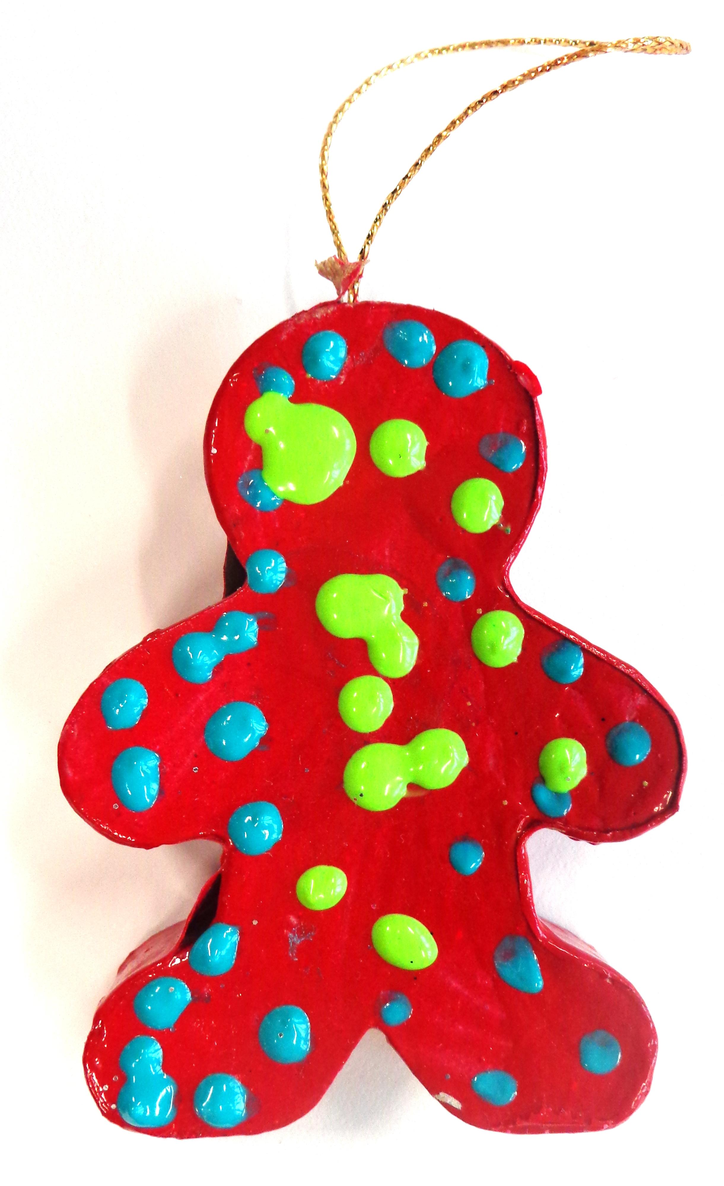 Petit bonhomme de pain d'épice décorée idée de cadeau de Noël en maternelle