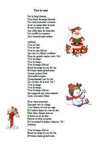 chanson vive le vent Chanson Noël Vive le vent