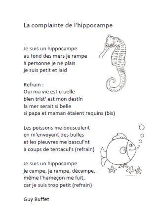 Chanson La complainte de l'hippocampe , La complainte de l'hippocampe