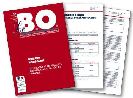 instructions officielles Horaires et programmes d'enseignement de l'école primaire Bulletin officiel du 19 juin 2008