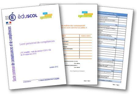 Livret personnel de compétences simplifié du 24 septembre 2012