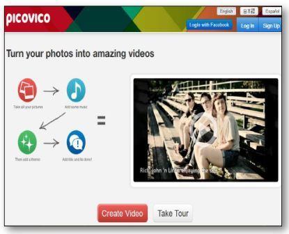Logiciel Picovico pour réaliser un diaporame vidéo à partir de photos sur fond sonore