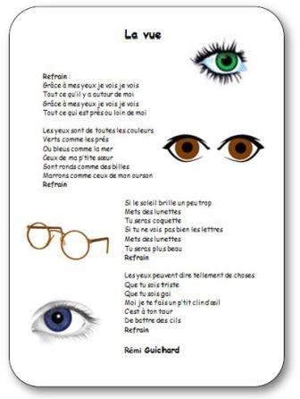 Comptines illustrées sur le corps et les cinq sens à imprimer. Comptine sur le sens de la vue