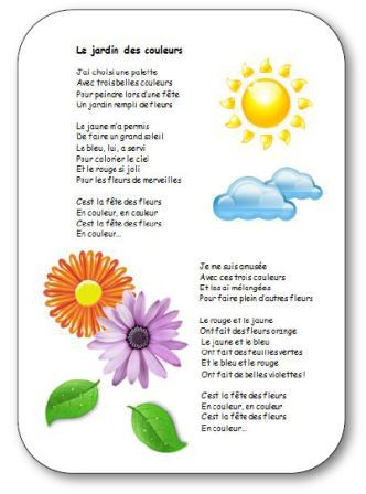 Comptine pour apprendre les couleurs à la maternelle Le jardin des couleurs