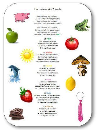 Comptine pour apprendre les couleurs à la maternelle Les couleurs de Titounis