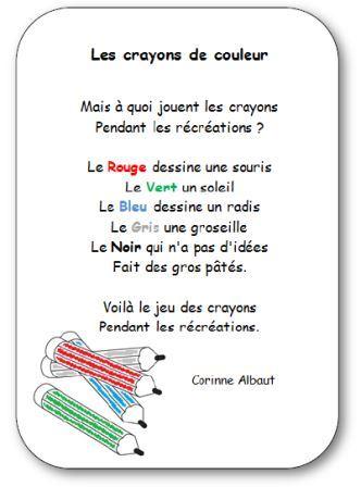 Poésie pour apprendre les couleurs à l'école maternelle Les crayons de couleur, poésie les crayons de couleurs