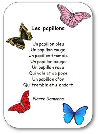 Poésie pour apprendre les couleurs en maternelle Les papillons, poésie les papillons