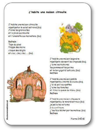 Comptine pour enfants maternelle, cycle 2, sur le thème d'Halloween et des citrouilles. Comptine J'habite une maison citrouille, maison citrouille chanson parole