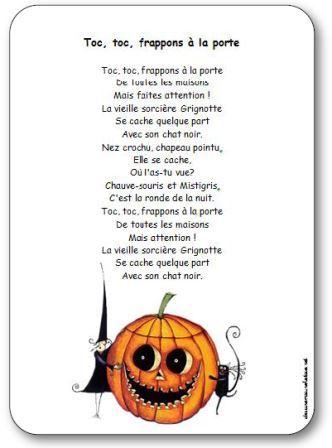 Comptine Toc toc frappons à la porte : Comptine pour enfants maternelle, cycle 2, sur le thème d'Halloween et des sorcières.