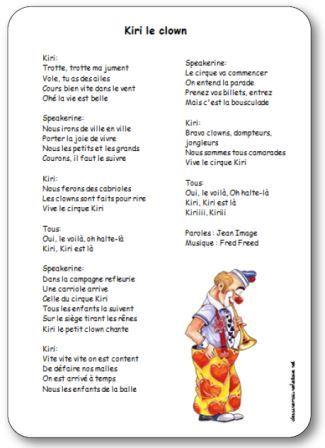 Chanson pour enfant de maternelle et de tout âge sur un clown