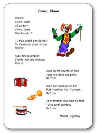 Comptine clown maternelle, Comptine Clown Clown de Michel Agneray, clown qui joue de l'accordéon, de la trompette et du tambour